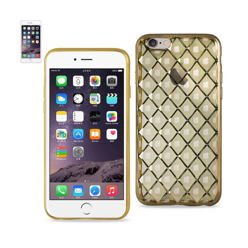 REIKO IPHONE 6S PLUS FLEXIBLE 3D RHOMBUS PATTERN TPU CASE WITH SHINY FRAME IN GOLD