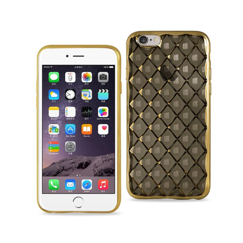 REIKO IPHONE 6S FLEXIBLE 3D RHOMBUS PATTERN TPU CASE WITH SHINY FRAME IN BLACK