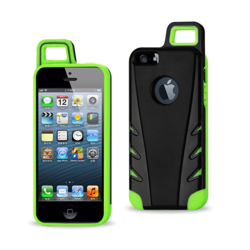 Protector Cover TPU+PC WITH HOOK iPHONE 5 BLACK