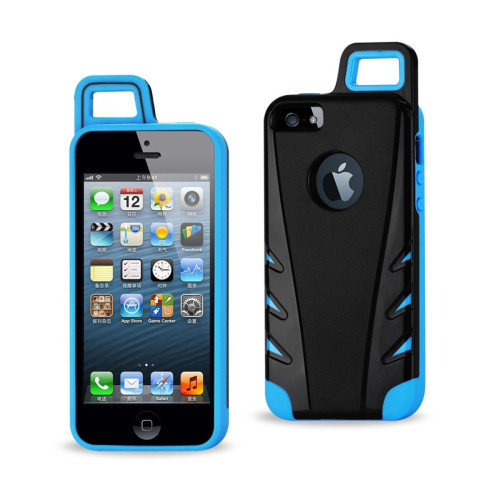 Protector Cover TPU+PC WITH HOOK iPHONE 5 BLACK NAVY