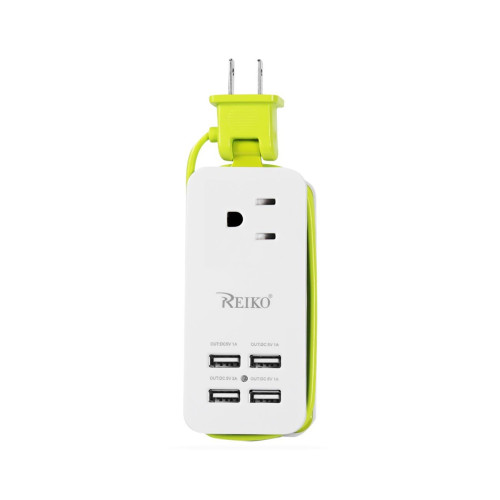 USB AC wall charger with 4 USB-PORTS 4A5V GREEN WITH POUCH