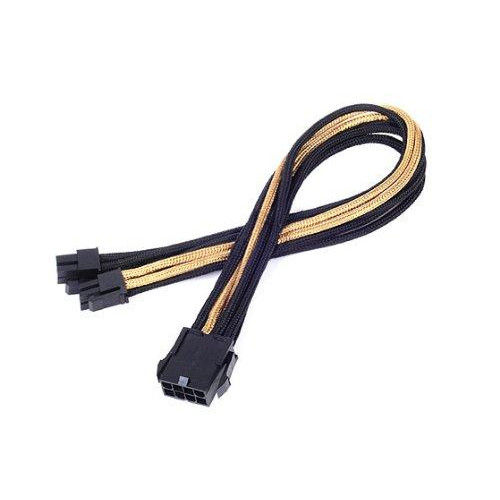 Eps-8Pin To Eps/Atx-4+4Pin(300Mm) Power Cable Extneder, Bicolor- Black & Gold