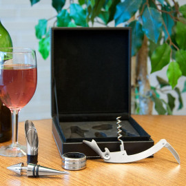 4 in 1 Stainless Steel Wine Accessory Tool Set with Leather Case