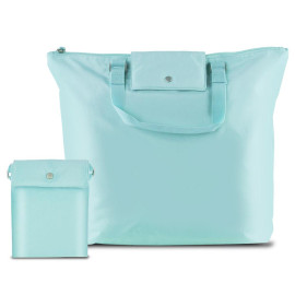 Compact Foldable Carry-All Tote Bag, Baby Blue